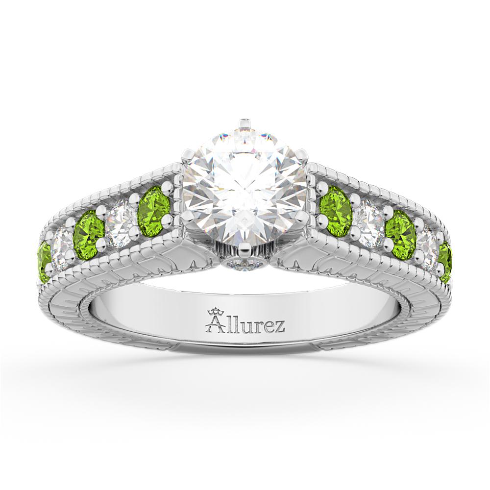 Vintage Diamond & Peridot Engagement Ring Setting 14k White Gold (1.35ct)