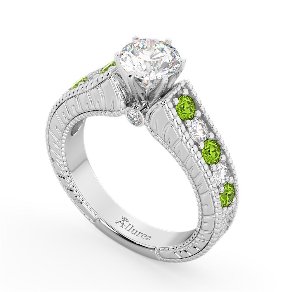 vintage diamond amp peridot engagement ring setting 14k