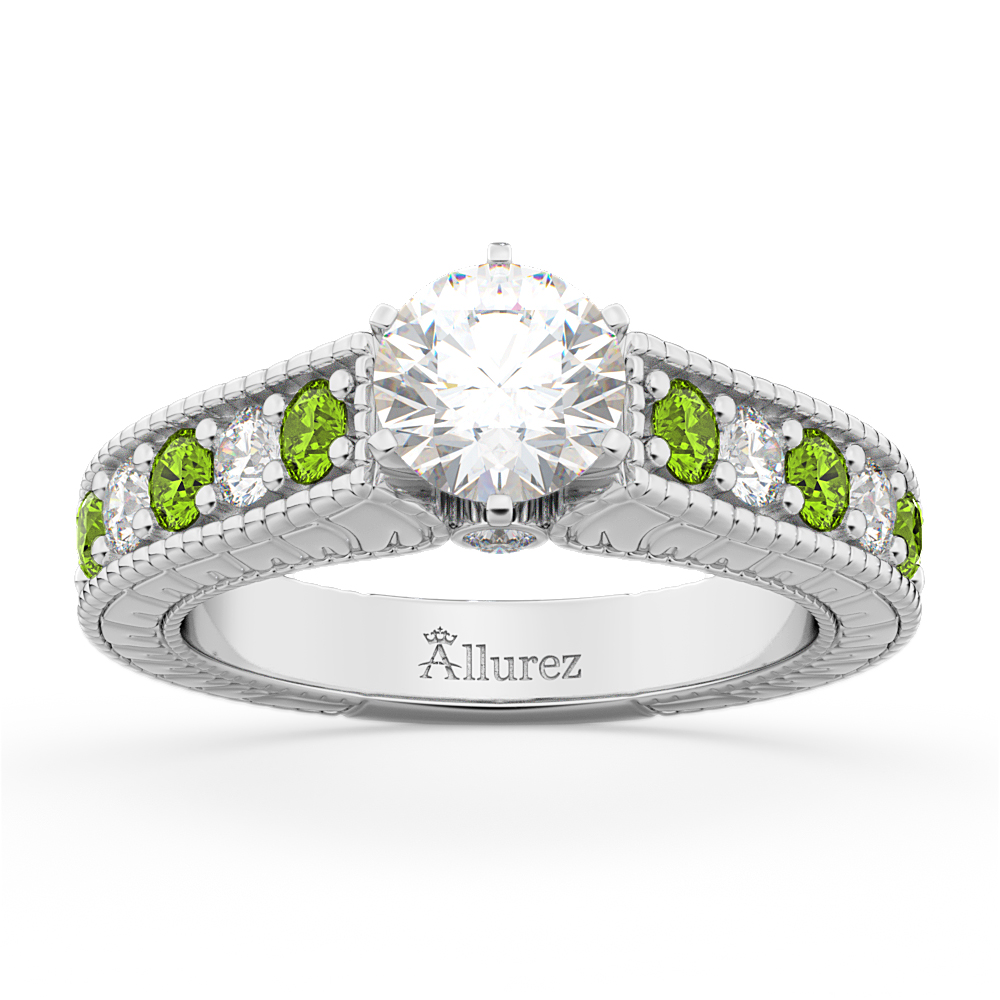 Vintage Diamond & Peridot Engagement Ring Setting in Palladium (1.35ct)