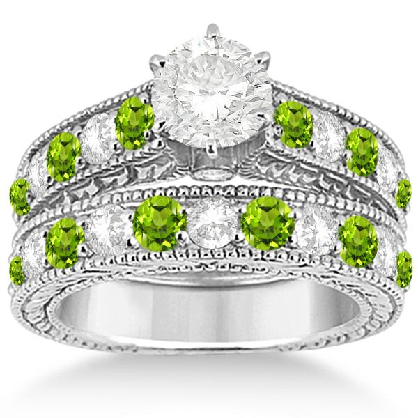 Antique Diamond & Peridot Bridal Wedding Ring Set 14k
