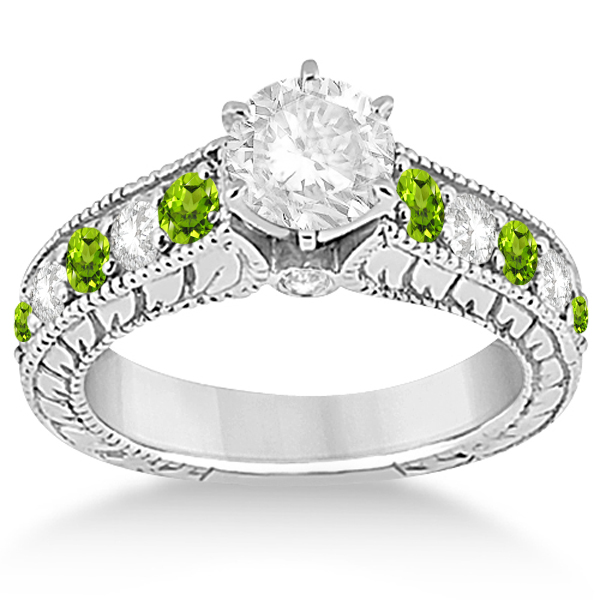 Antique diamond peridot bridal wedding ring set 14k for Peridot wedding ring set