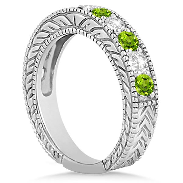 Antique Diamond & Peridot Bridal Wedding Ring Set in Palladium (2.75ct)