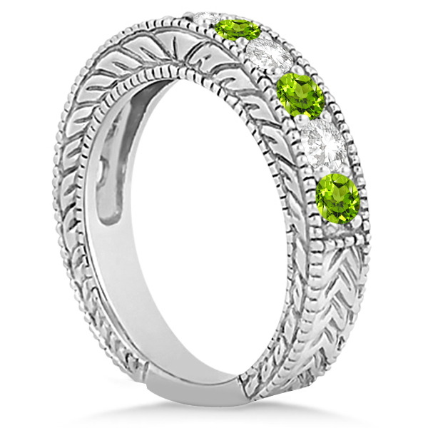 Antique Diamond & Peridot Engagement Wedding Ring 18k White Gold (1.40ct)