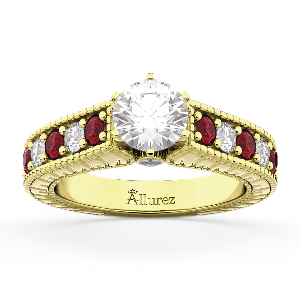 Vintage Diamond & Ruby Engagement Ring in 14k Yellow Gold (1.35ct)