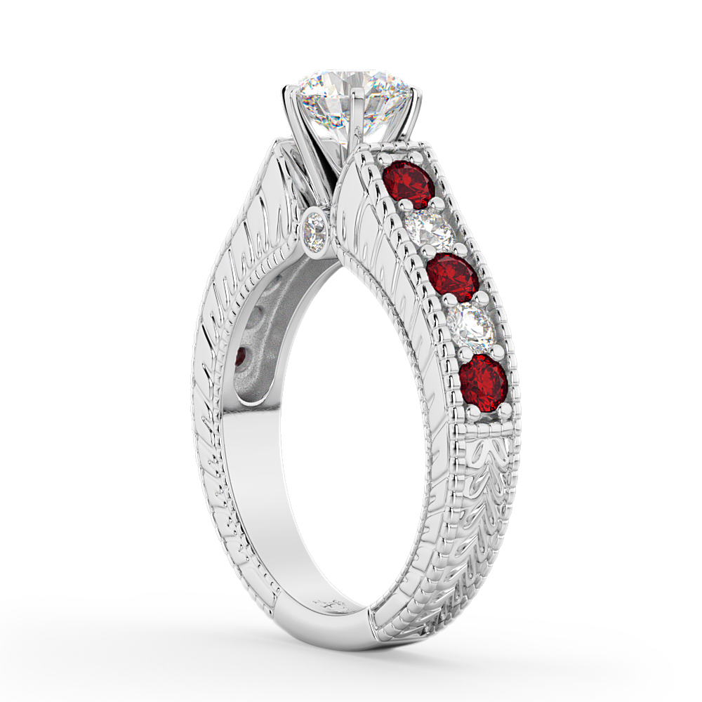 Vintage Diamond & Ruby Engagement Ring Setting 18k White Gold (1.35ct)