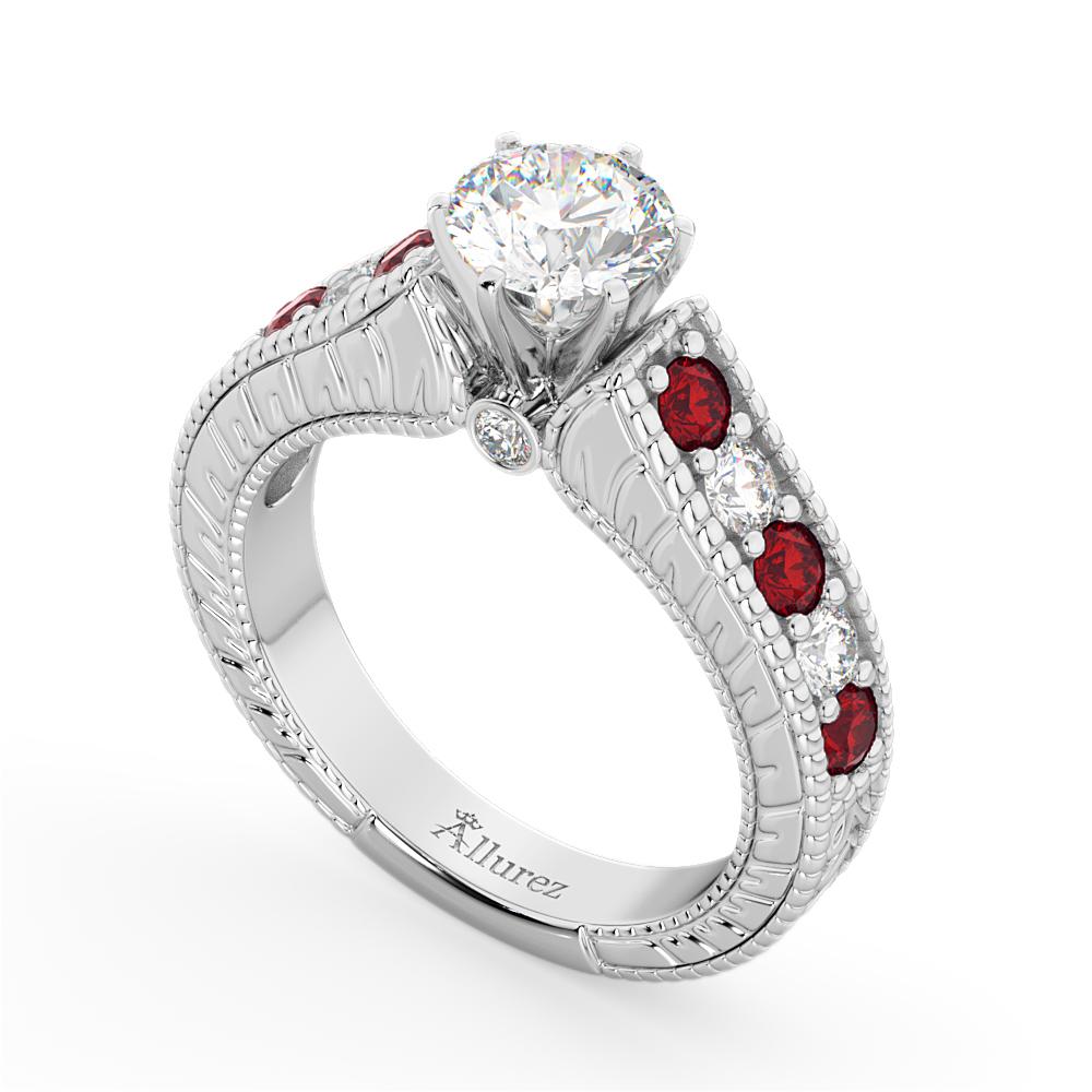 Vintage Diamond & Ruby Engagement Ring Setting in Palladium (1.35ct)