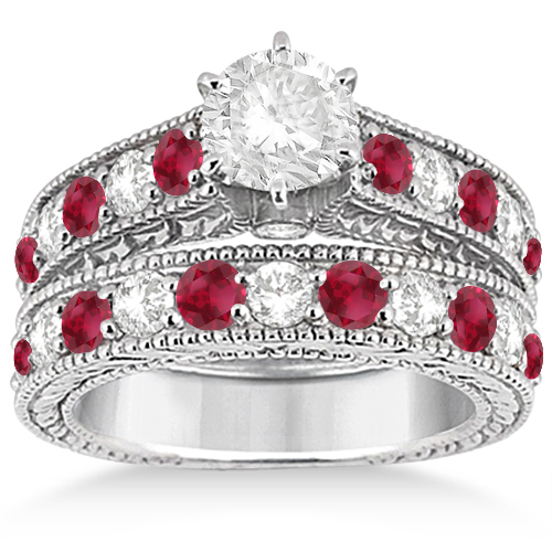 Antique Diamond Ruby Bridal Wedding Ring Set 14k White Gold
