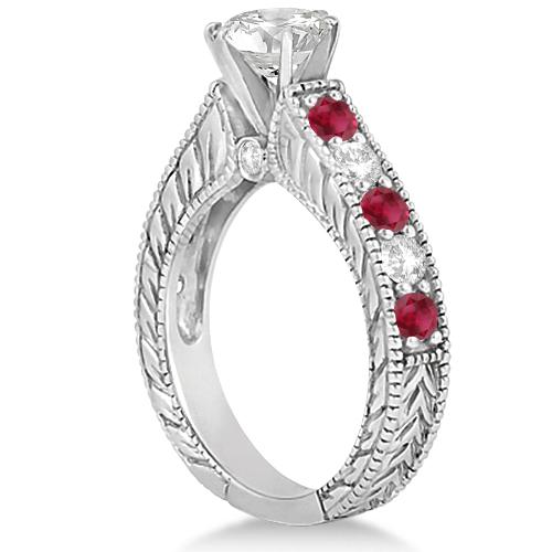 Antique Diamond & Ruby Bridal Wedding Ring Set 14k White Gold (2.75ct)