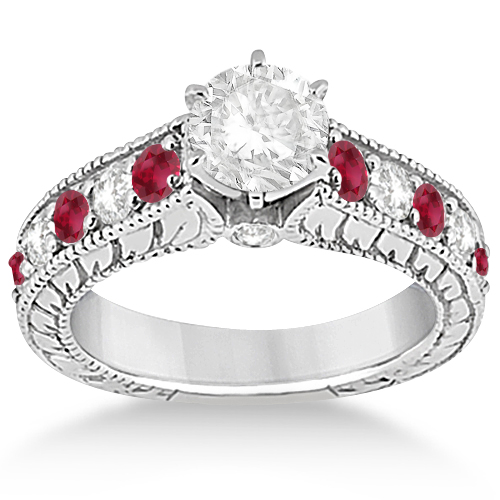 antique diamond ruby wedding engagement ring set platinum - Ruby Wedding Ring Sets
