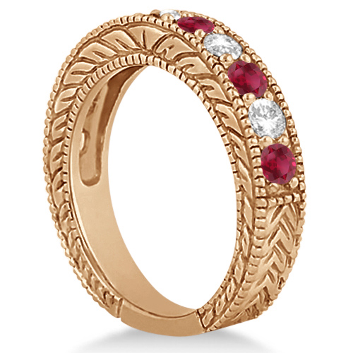 Antique Diamond & Ruby Engagement Wedding Ring 14k Rose Gold (1.40ct)