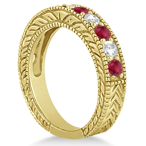 Antique Diamond & Ruby Wedding Ring Band in 14k Yellow Gold (1.40ct)