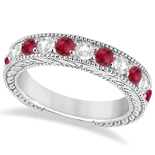Antique Diamond & Ruby Engagement Wedding Ring 18k White Gold (1.40ct)