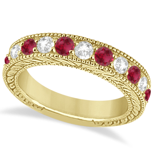 Antique Diamond & Ruby Wedding Ring Band in 18k Yellow Gold (1.40ct)
