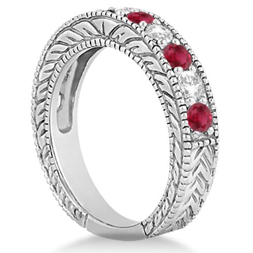 Antique Diamond & Ruby Engagement Wedding Ring Band Platinum (1.40ct)