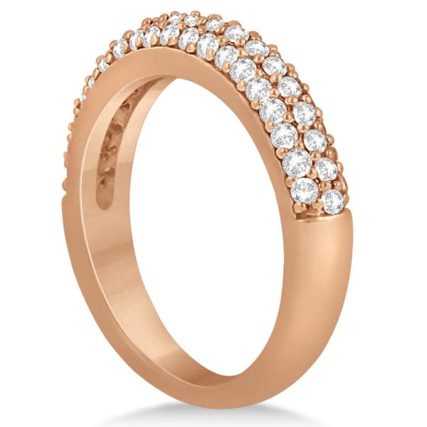 Three Row Half-Eternity Diamond Bridal Set in 18k Rose Gold (1.59ct)