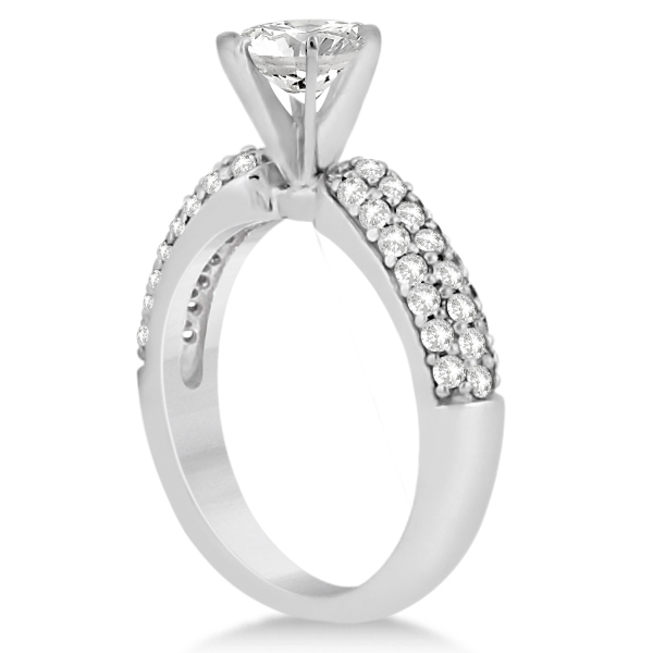 Three Row Half-Eternity Diamond Bridal Set in Palladium (1.59ct)