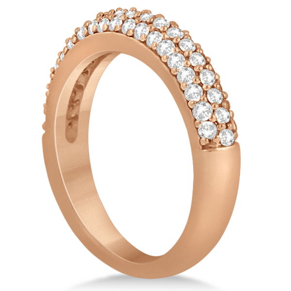 Half-Eternity 3 Row Diamond Wedding Band in 14k Rose Gold (0.87ct)