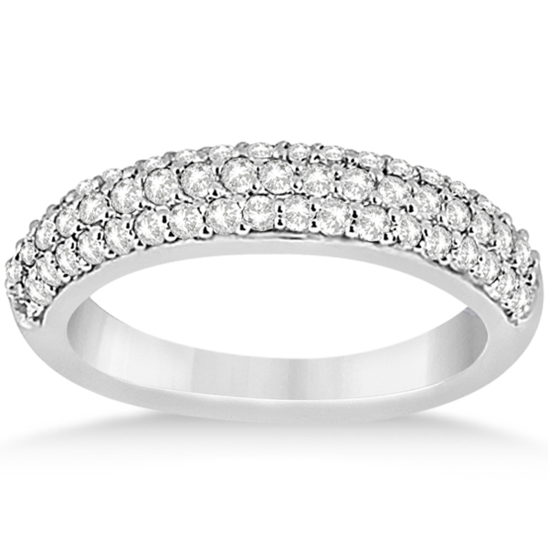 Half-Eternity 3 Row Diamond Wedding Band in 14k White Gold (0.87ct)
