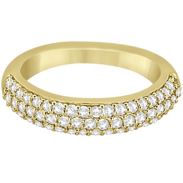 Half-Eternity 3 Row Diamond Wedding Band in 18k Yellow Gold (0.87ct)