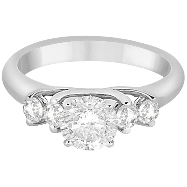 Five Stone Diamond Engagement Ring For Women 14k White Gold (0.40ct)