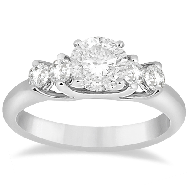 Five Stone Diamond Engagement Ring For Women 18k White Gold (0.40ct)