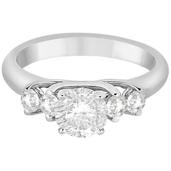 Five Stone Diamond Engagement Ring For Women Platinum (0.40ct)