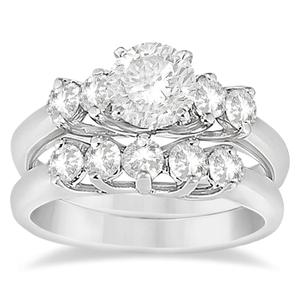 Five Stone Diamond Bridal Set Ring and Band in 14k White Gold (0.90ct)