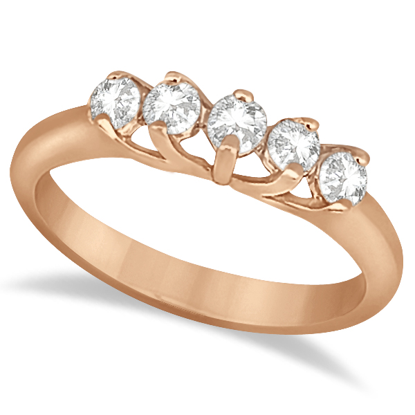 Five Stone Diamond Bridal Set Ring and Band in 18k Rose Gold (0.90ct)