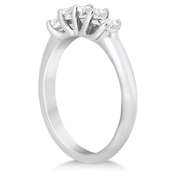 Five Stone Diamond Bridal Set Ring and Band in 18k White Gold (0.90ct)