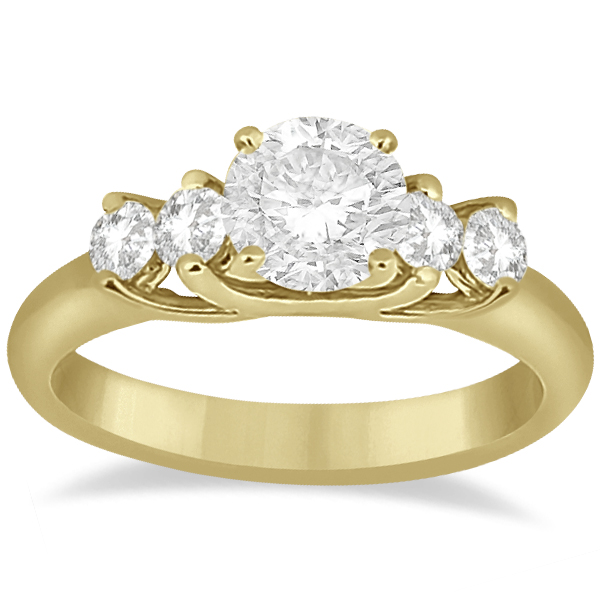 Five Stone Diamond Bridal Set Ring and Band in 18k Yellow Gold (0.90ct)