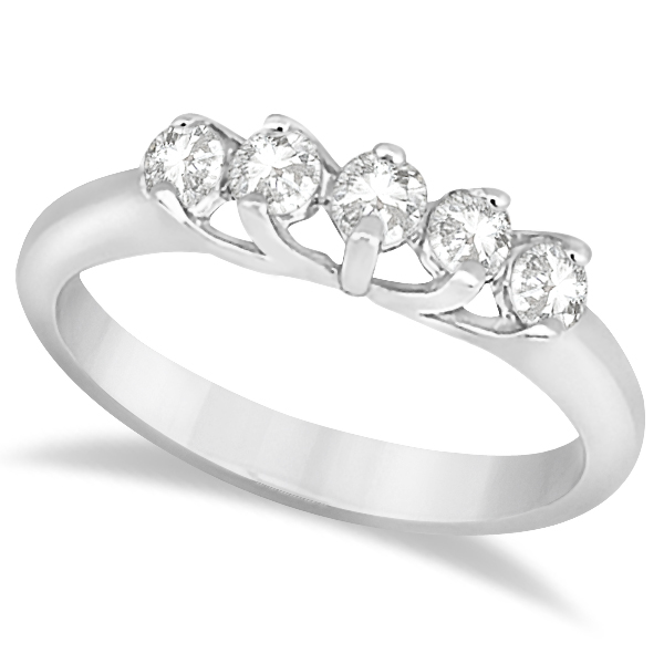 Five Stone Diamond Bridal Set Ring and Wedding Band Platinum (0.90ct)
