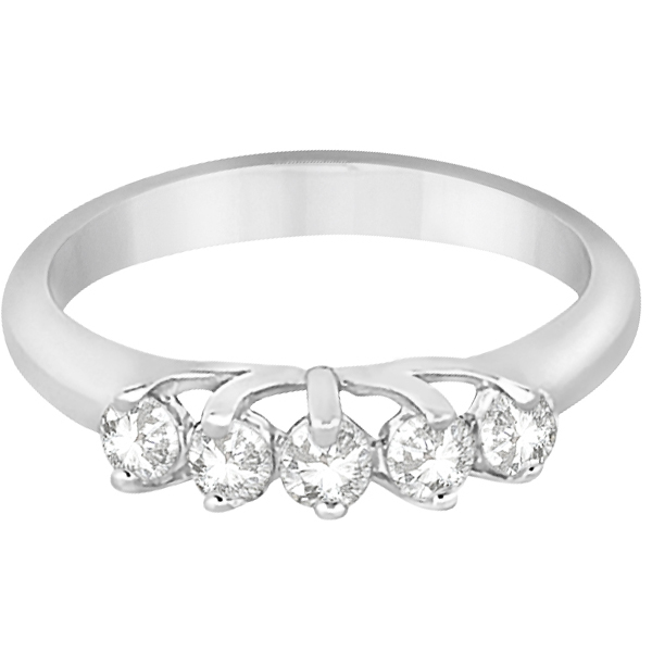 Five Stone Diamond Wedding Band For Women 14k White Gold (0.50ct)