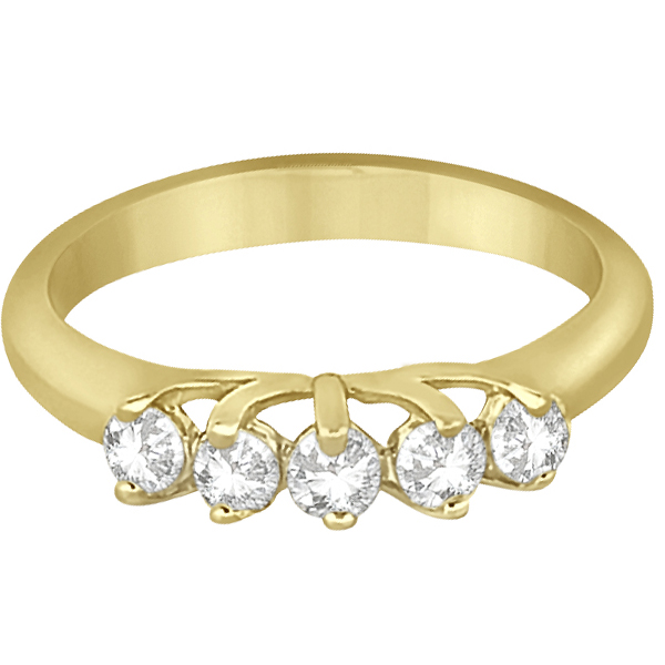 Five Stone Diamond Wedding Band For Women 14k Yellow Gold (0.50ct)