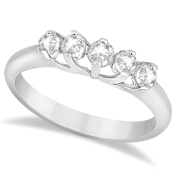 Five Stone Diamond Wedding Band For Women Platinum (0.50ct)