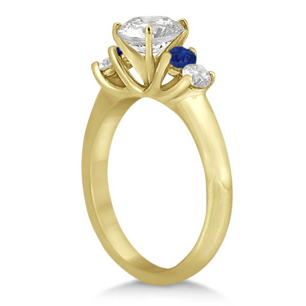 Five Stone Diamond and Sapphire Engagement Ring 14k Yellow Gold (0.50ct)