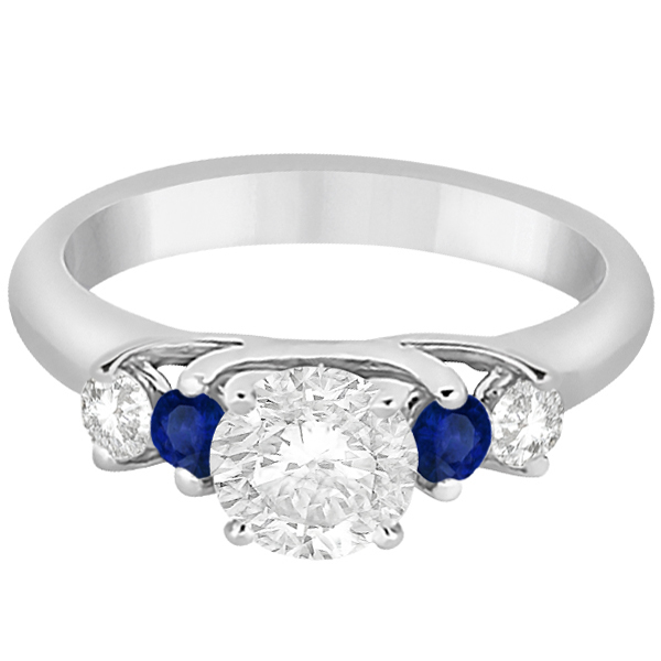 Five Stone Diamond and Sapphire Engagement Ring 18k White Gold (0.50ct)