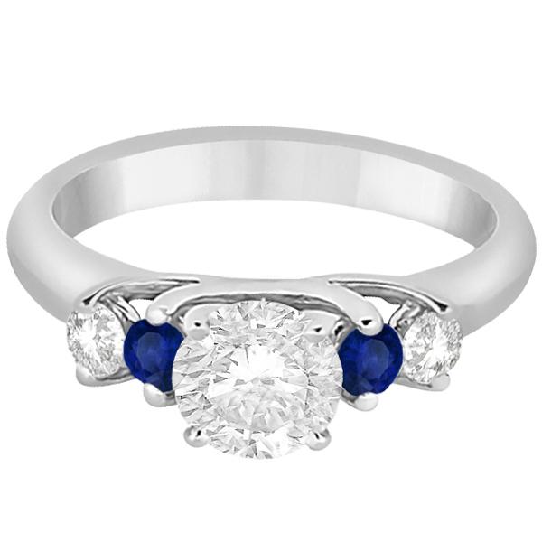 Five Stone Diamond and Sapphire Engagement Ring Palladium (0.50ct)