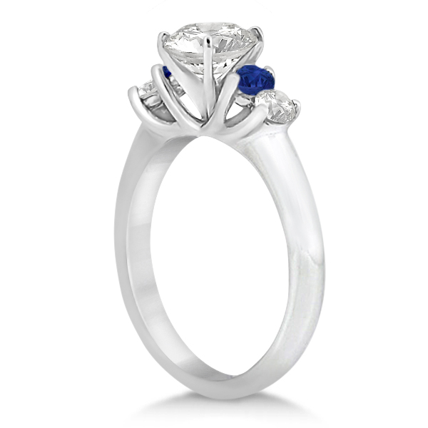 Five Stone Diamond and Sapphire Bridal Ring Set 14k White Gold (1.10ct)