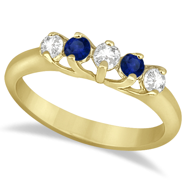 Five Stone Diamond and Sapphire Bridal Ring Set 18k Yellow Gold (1.10ct)