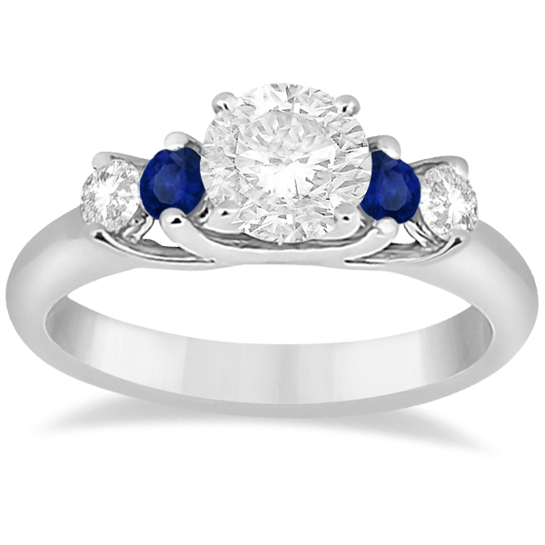 Five Stone Diamond and Sapphire Bridal Ring Set Palladium (1.10ct)