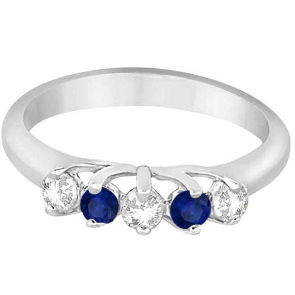 Five Stone Diamond and Sapphire Wedding Band 14kt White Gold (0.60ct)
