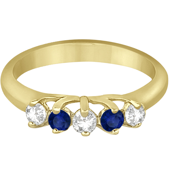Five Stone Diamond and Sapphire Wedding Band 14kt Yellow Gold (0.60ct)