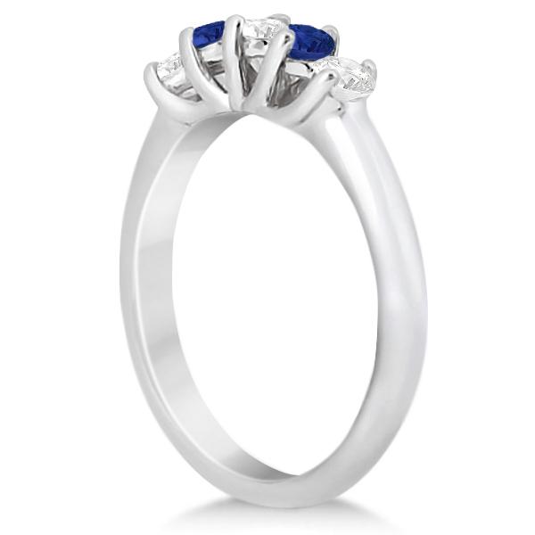 Five Stone Diamond and Sapphire Wedding Band Palladium (0.60ct)