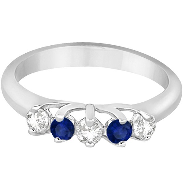 Five Stone Diamond and Sapphire Wedding Band Platinum (0.60ct)