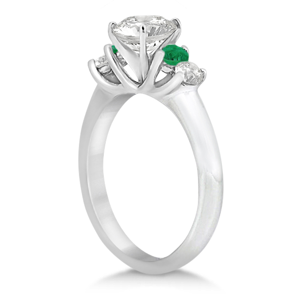 Five Stone Diamond and Emerald Engagement Ring 14k White Gold (0.44ct)