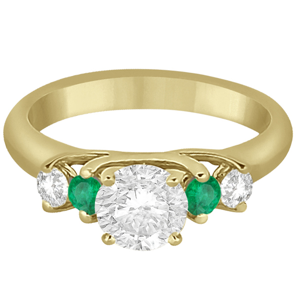 Five Stone Diamond and Emerald Engagement Ring 18k Yellow Gold (0.44ct)