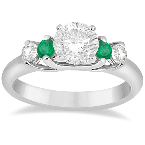 Five Stone Diamond and Emerald Engagement Ring Palladium (0.44ct)