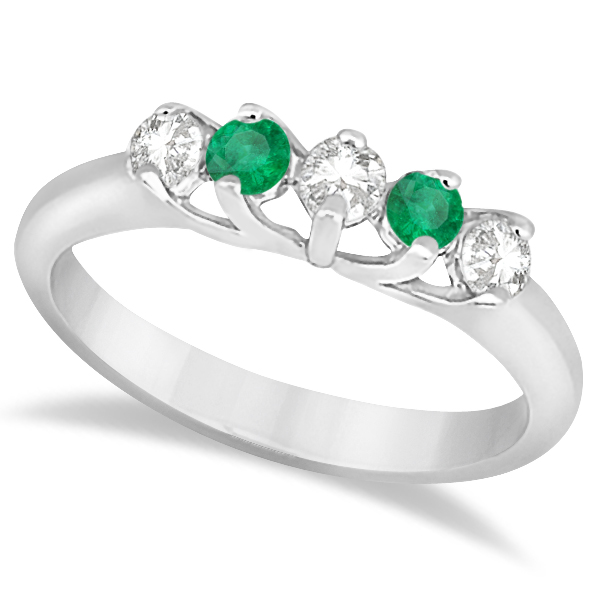 Five Stone Diamond and Emerald Bridal Ring Set 18k White Gold (0.98ct)