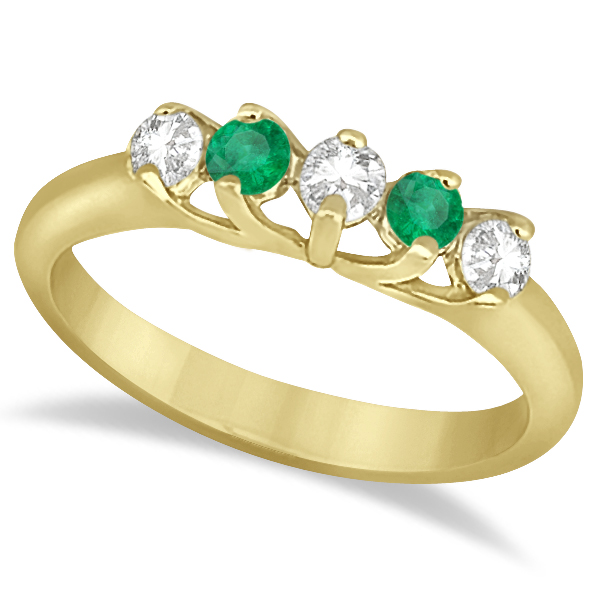 Five Stone Diamond and Emerald Bridal Ring Set 18k Yellow Gold (0.98ct)