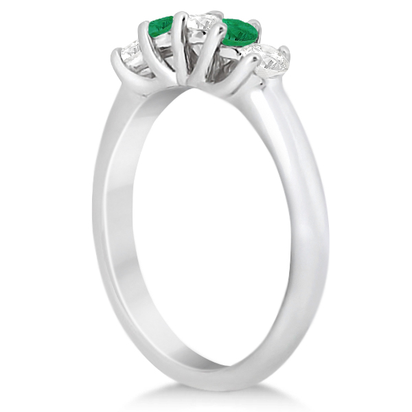Five Stone Diamond and Emerald Wedding Band 14kt White Gold (0.54ct)